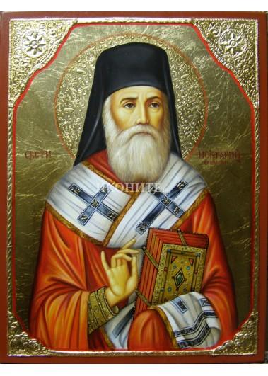 Рисувана златна икона Св. Нектарий Егински