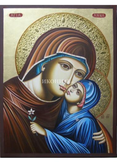 Икона на Света Анна със Света Богородица - декупаж