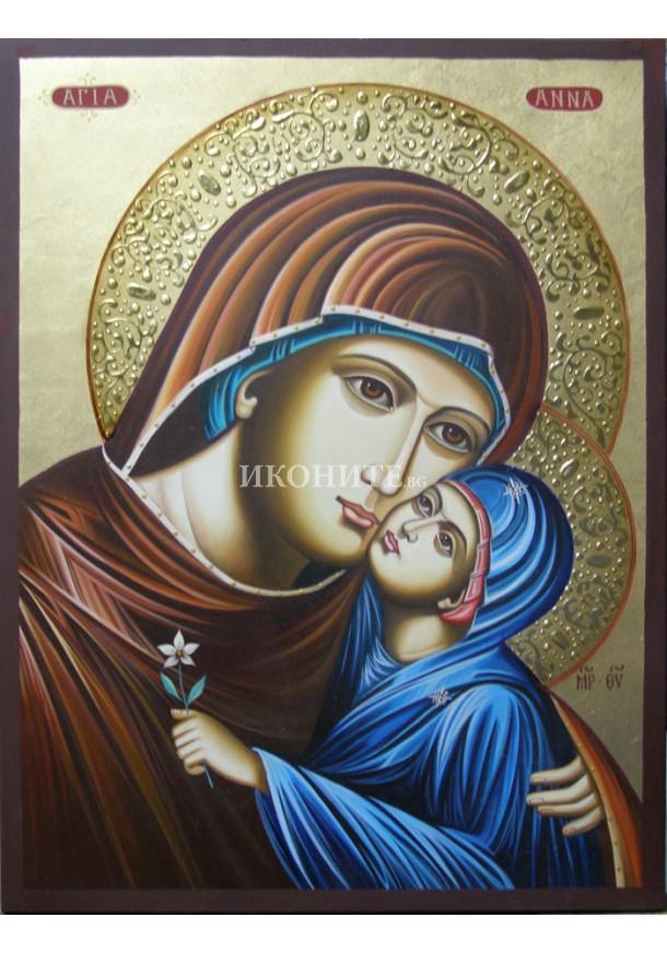 Рисувана златна икона Св. Анна със Света Богородица