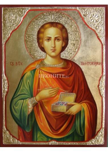 Икона на Свети Панталеймон - декупаж