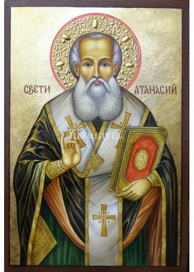 Малка дървена икона на Свети Атанасий
