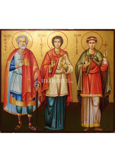 Рисувана икона на Свети Мина, Свети Ермоген и Свети Евграф