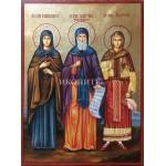 Икона на Св. Петка, Св. Димитър, Св. Филотея и Св. Параскева - декупаж