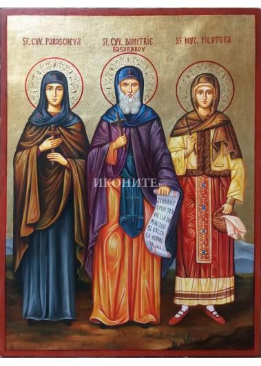 Рисувана икона на Св. Петка, Св. Димитър, Св. Филотея и Св. Параскева