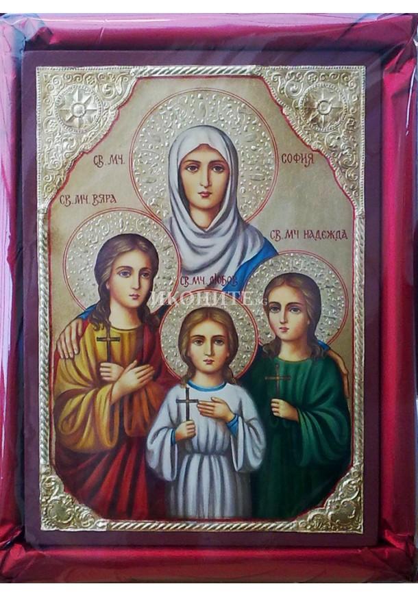 Икона на Света София, Вяра, Надежда и Любов - декупаж