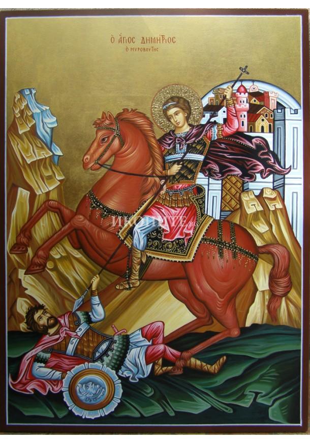 Ръчно рисувана икона със злато Св. Димитър