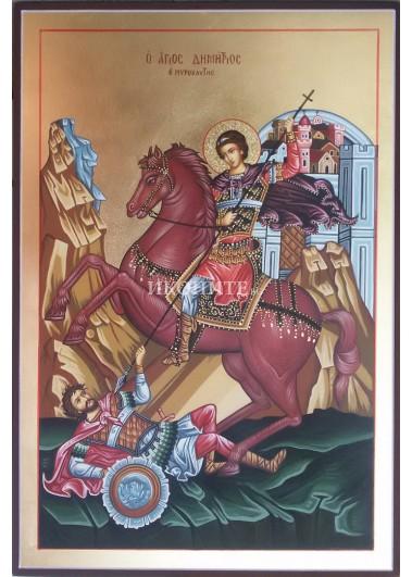 Икона на Свети Димитър - декупаж