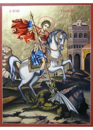 Рисувана златна икона Св. Георги