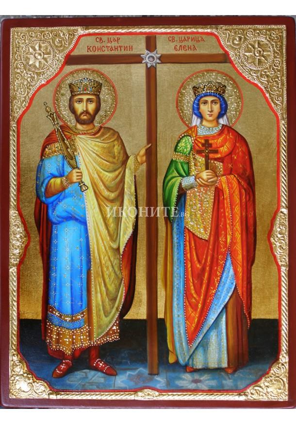 Икона на Св. равноапостолни цар Константин и царица Елена - декупаж