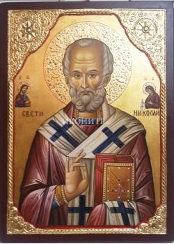 Икона на Св. Николай с Исус Христос и Св. Богородица - декупаж